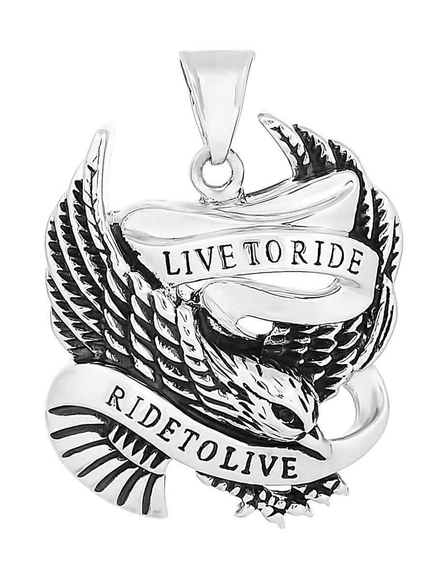 """Pendants """"Live to Ride"""" 925 silver jewelry gift"""