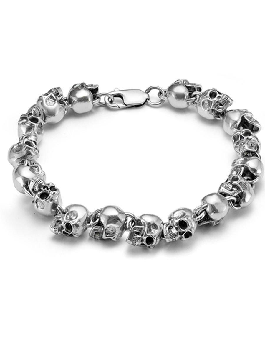 "Bracelet ""Skulls"" 925  sterling silver jewelry gift"