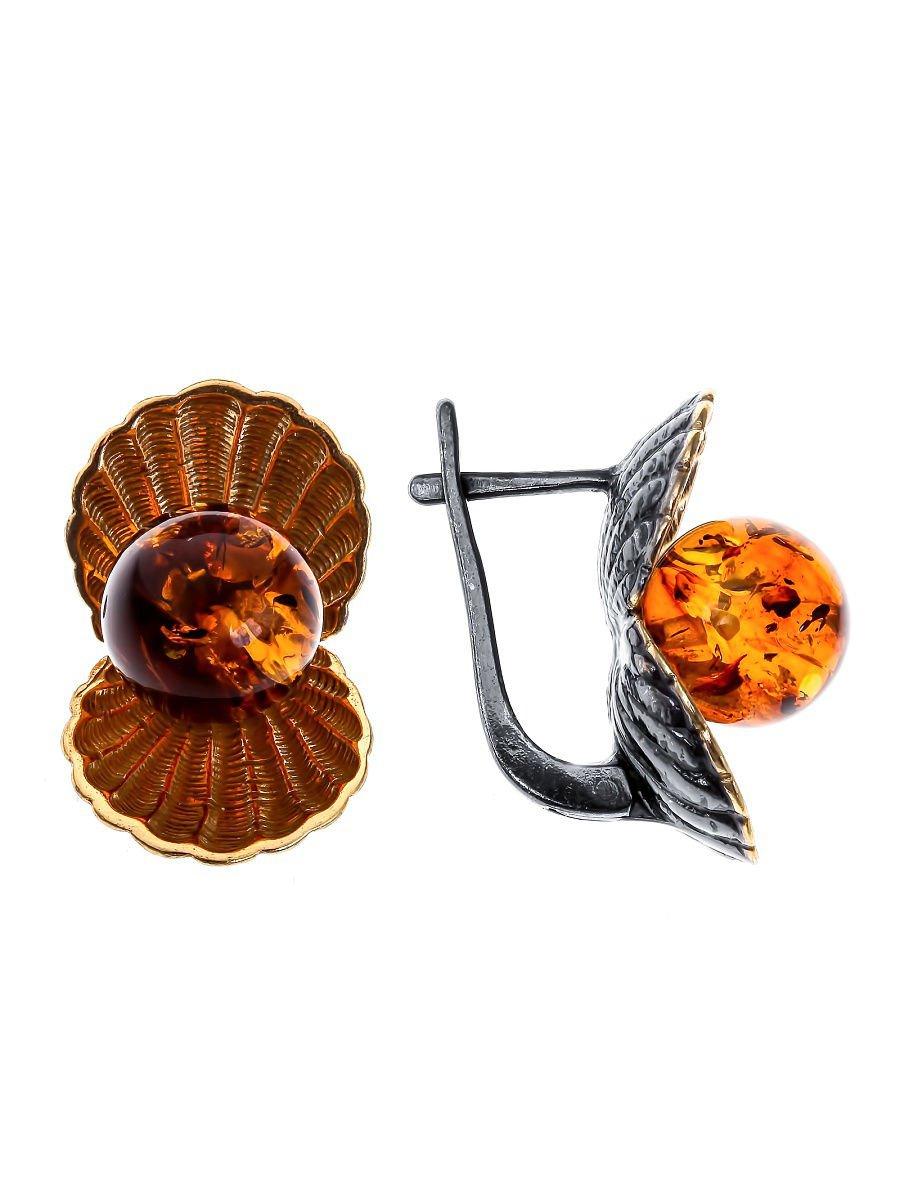 "Earrings ""Belle"" 925 sterling silver gilding amber crystal Zirconia jewelry gift"