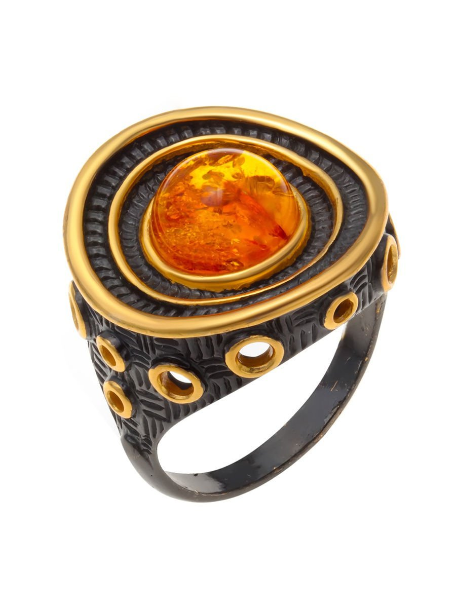 """Rings """"Belle"""" 925 sterling silver gilding amber crystal Zirconia jewelry gift"""