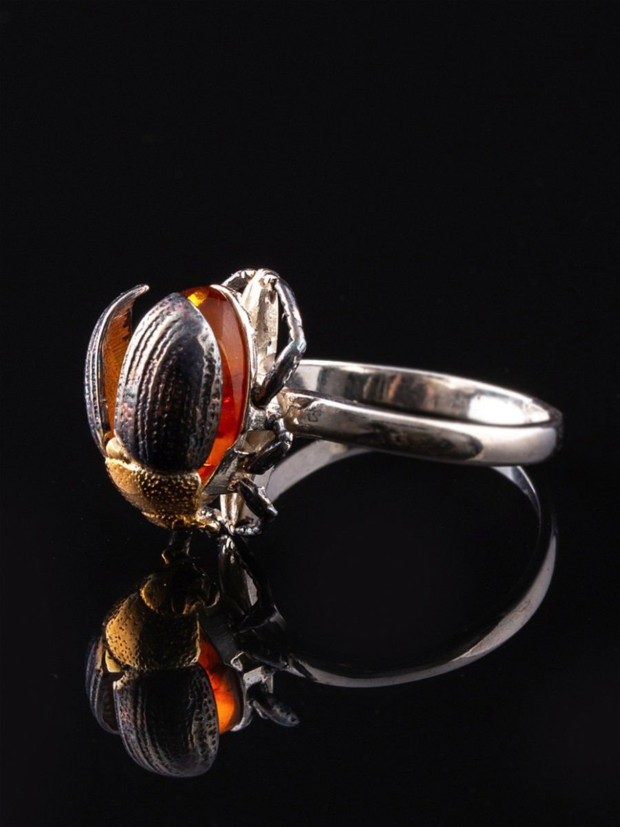 """Rings """"Scarab beetle"""" 925 sterling silver gilding amber crystal Zirconia jewelry gift"""