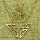 New Charlie's Angels Logo Golden Pendant Necklace Earrings Adjustble Ring Gift