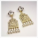 Golden Chandelier Clip Earrings With Rhinestones Pavè And Pearled Drops
