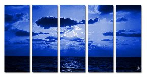 """5 PIECES ABSTRACT OIL PAINTING ON CANVAS 12""""X32""""X5 PIECES"""