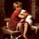 "LITTLE GIRL AND HER CAT OIL PAINTING ON CANVAS 20""X24"""