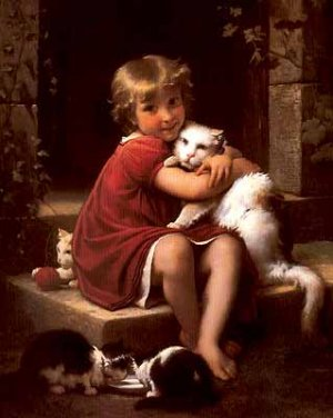 """LITTLE GIRL AND HER CAT OIL PAINTING ON CANVAS 20""""X24"""""""