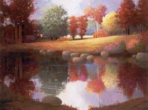 """NATURE SCENERY OIL PAINTING ON CANVAS 20""""X24"""""""