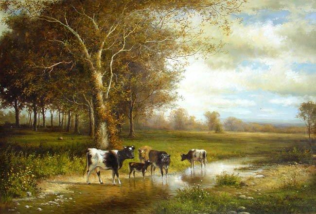 "FARM LAND OIL PAINTING ON CANVAS 20""X24"""