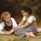 """TWO GIRLS OIL PAINTING ON CANVAS 20""""X24"""""""
