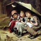 "THREE LITTLE GIRLS OIL PAINTING ON CANVAS 20""X24"""