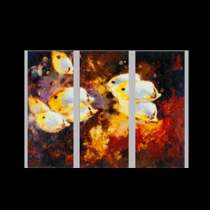 """3 PIECES ABSTRACT OIL PAINTING ON CANVAS 12""""X32""""X3 PIECES"""