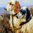 "TWO DOGS OIL PAINTING ON CANVAS 12""X32""X3 PIECES"