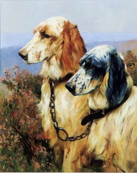 """TWO DOGS OIL PAINTING ON CANVAS 12""""X32""""X3 PIECES"""