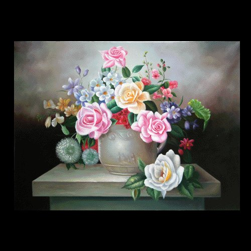 """FLOWERS OIL PAINTING ON CANVAS 20""""X24"""""""