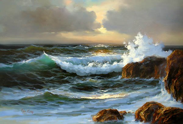 """BOAT-SEA 007 OIL PAINTING ON CANVAS 20""""X24"""""""