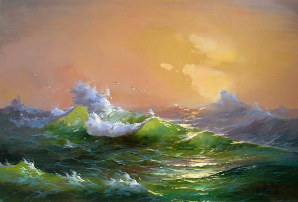 """BOAT-SEA 021 OIL PAINTING ON CANVAS 20""""X24"""""""