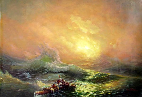 """BOAT-SEA 031 OIL PAINTING ON CANVAS 20""""X24"""""""