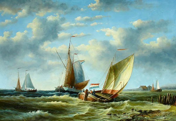 """BOAT-SEA 032 OIL PAINTING ON CANVAS 20""""X24"""""""