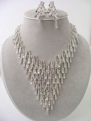 """Ice"" AB Rhinestones Sparkle like ICE Necklace/Earring Set Reg $149.99"