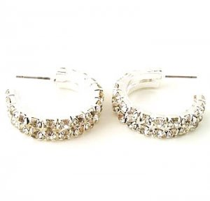 Fancy 2 Row Rhinestone 1 inch Hoops Reg $21.99