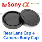 Rear Lens + Camera Body Caps for Sony Alpha Camera