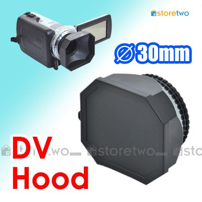 JJC 30mm Square Lens Hood for DV Camcorder with Lens Cap and Lens Keeper