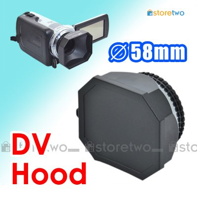 JJC 58mm Square Lens Hood for DV Camcorder with Lens Cap and Lens Keeper