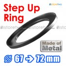 Step Up 67mm to 72mm Filter Ring Adapter Mount Metal