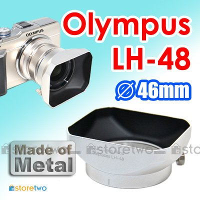 LH-48 - JJC Metal Silver Lens Hood for Olympus M.ZUIKO DIGITAL ED 12mm f/2.0 46mm