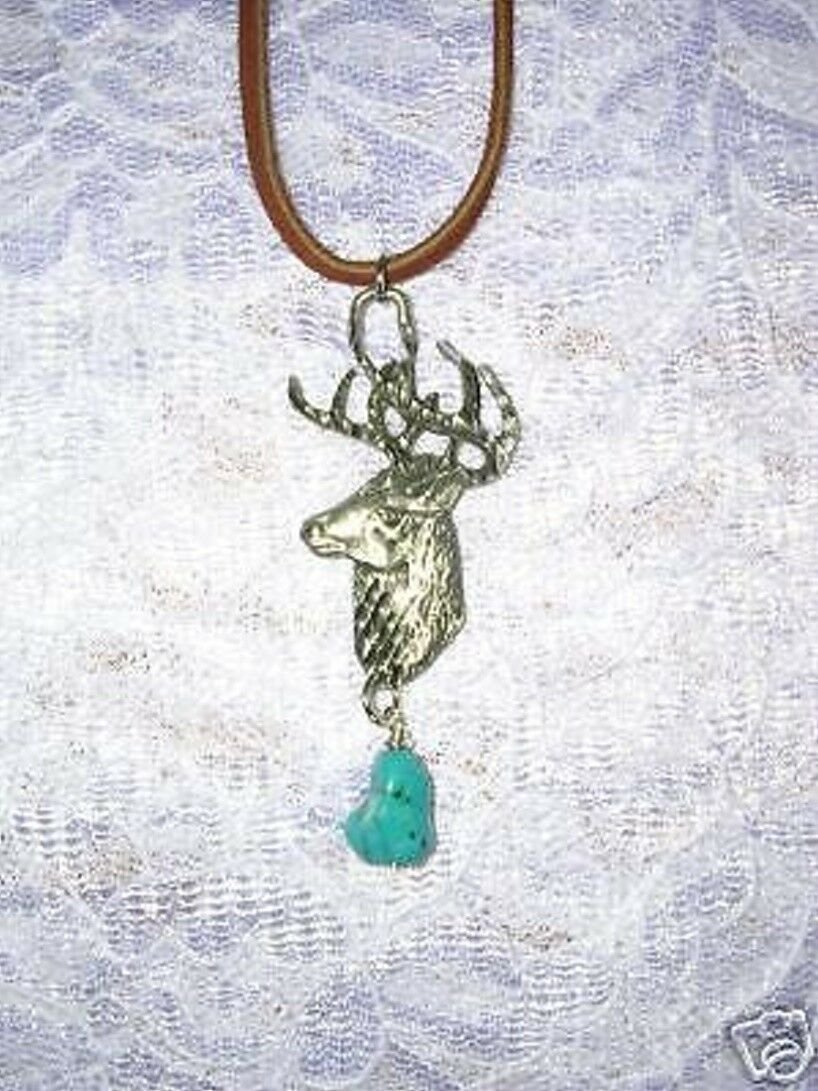 ENGRAVED USA PEWTER DEER / TROPHY BUCK HEAD & TURQUOISE NUGGET PENDANT NECKLACE
