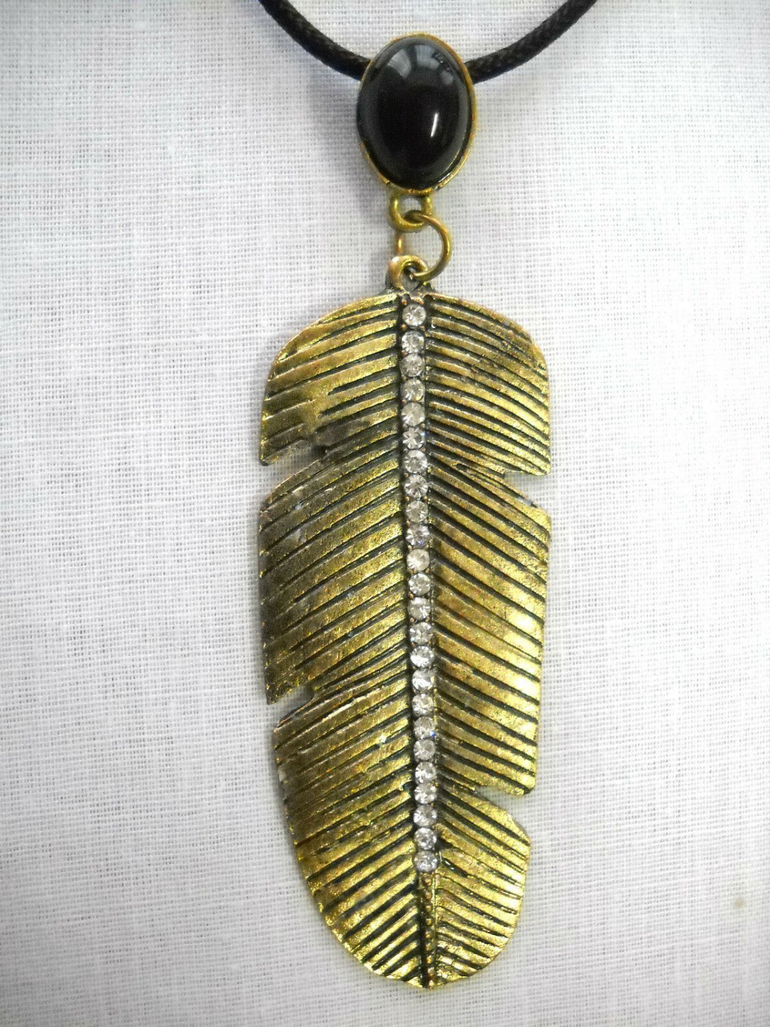 BIG BRASS ANTIQUED FEATHER CLEAR CRYSTALS SPINE 2 TIER ADJ PENDANT NECKLACE