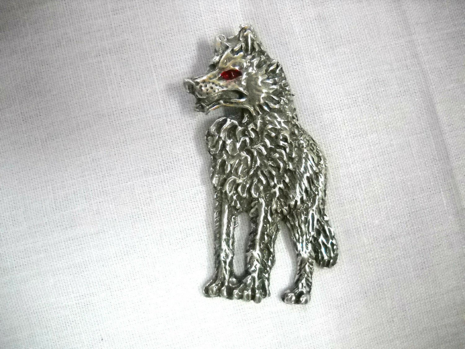Full Body Standing Wolf USA Cast Pewter Pendant Adjustable Cord Necklace