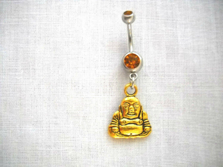 GOLDEN ALLOY 2 SIDED ZEN BUDDHA DANGLING CHARM on 14g GOLDEN CZ BELLY RING
