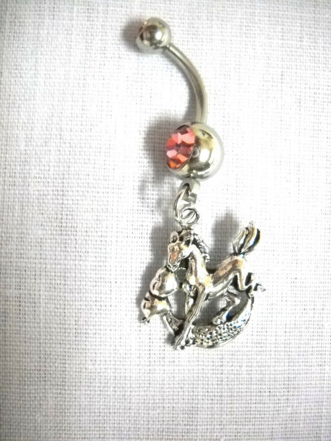 HORSE PONY JUMPING THE MOON CHARM ON DOUBLE LIGHT PINK CZ BELLY RING NAVEL BAR