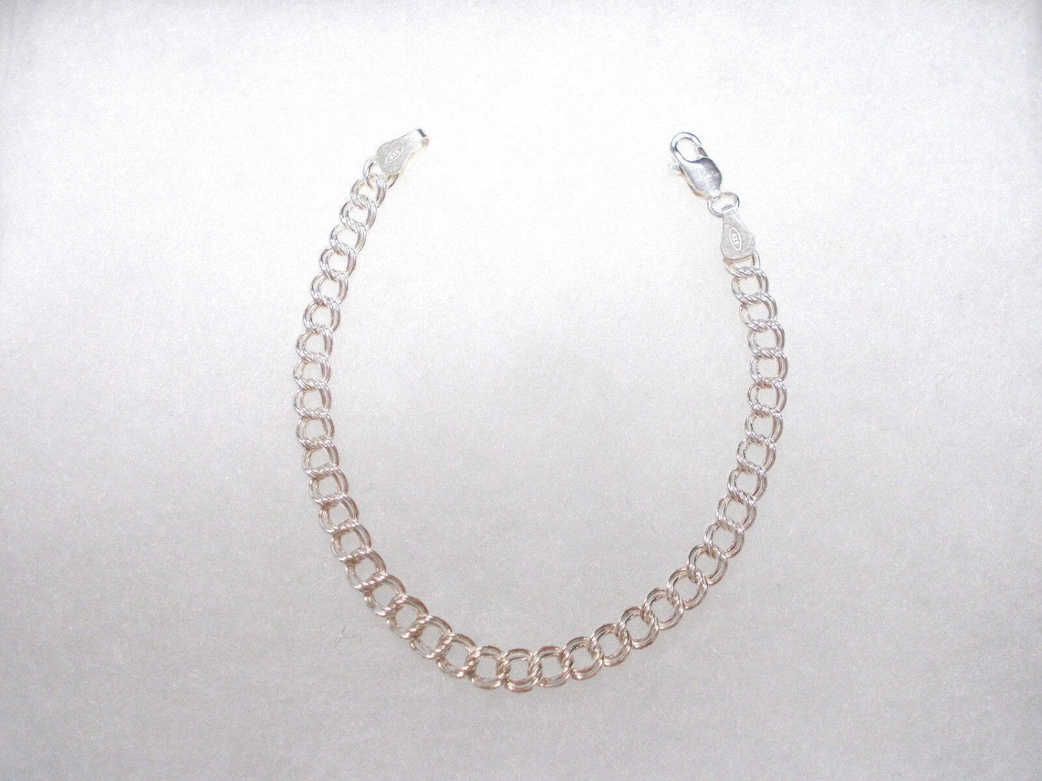 "925 STERLING SILVER DOUBLE CURB LINK CHAIN 7"" BRACELET ADD YOUR CHARMS"