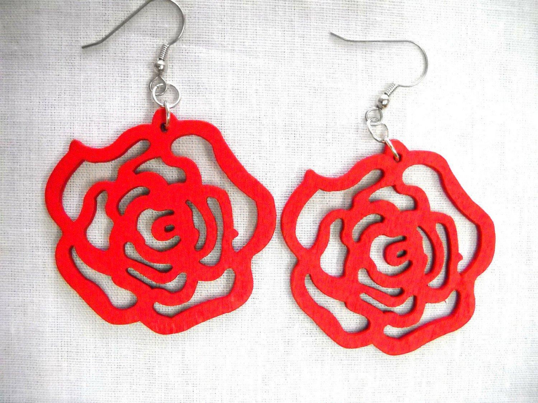 TRUE RED CUT OUT OPEN ROSE FLOWER SILHOUETTE WOODEN FLOWERS EARRINGS
