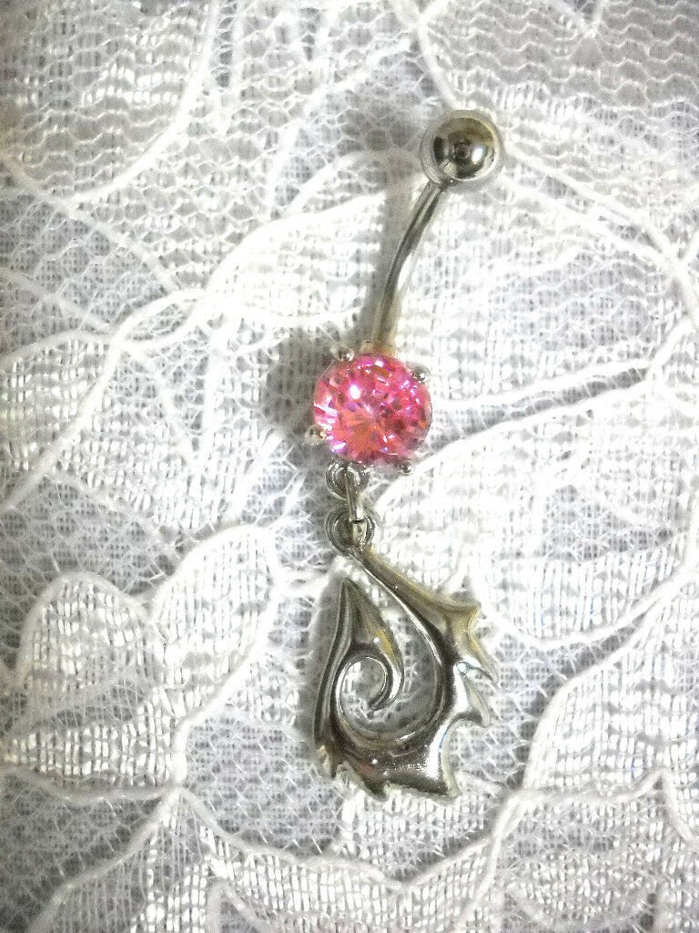 PACIFIC ISLANDER MAORI TRIBAL FREEDOM SPIKED FISH HOOK w PINK CZ BELLY BAR RING