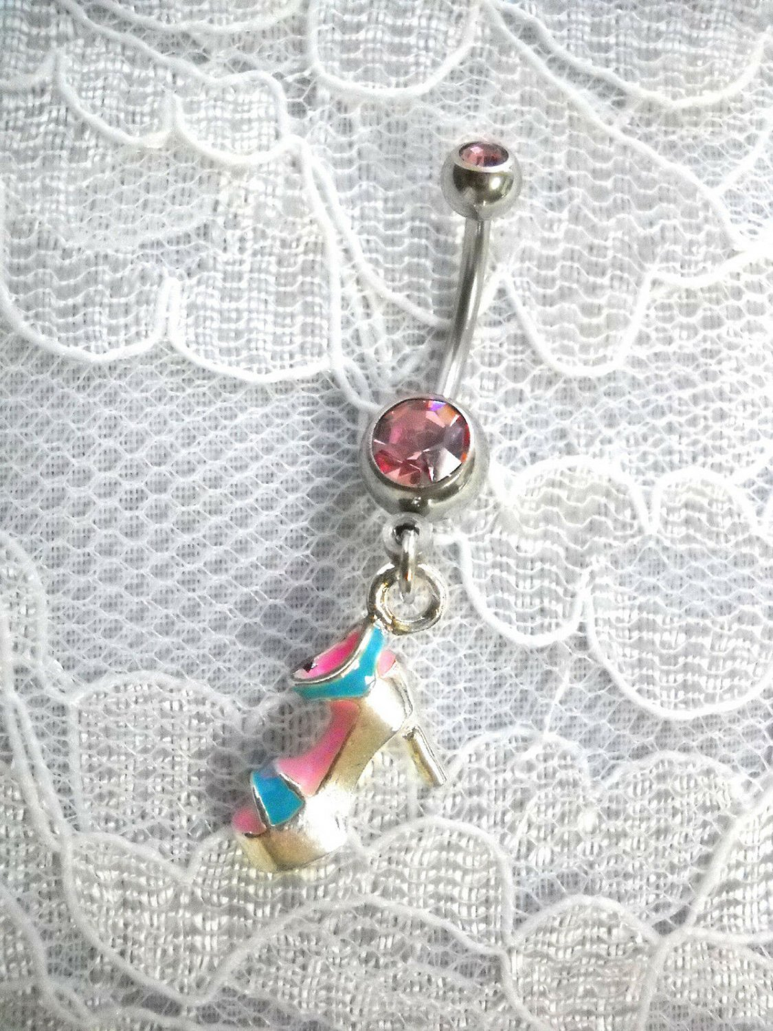 PINK & BABY BLUE PLATFORM SANDAL CHARM PINK CZ BELLY BAR BELLY BUTTON RING SHOES