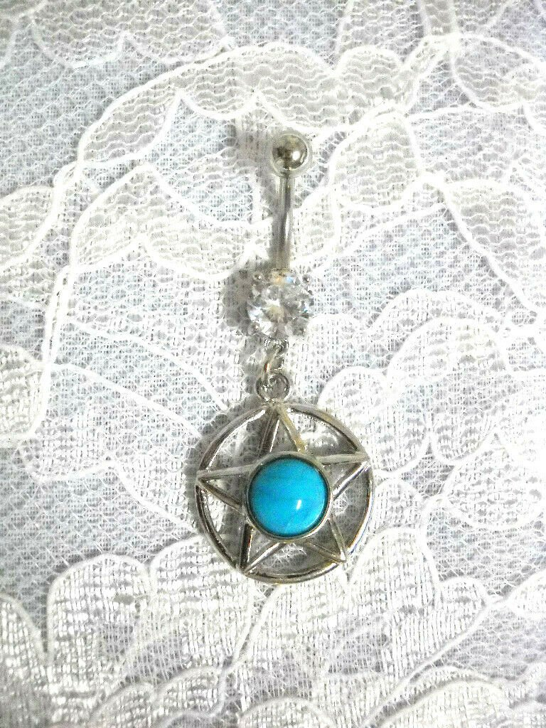 SOUTHWESTERN STAR w TURQUOISE GEM CENTER ON 14G CLEAR CZ BELLY BUTTON RING BAR