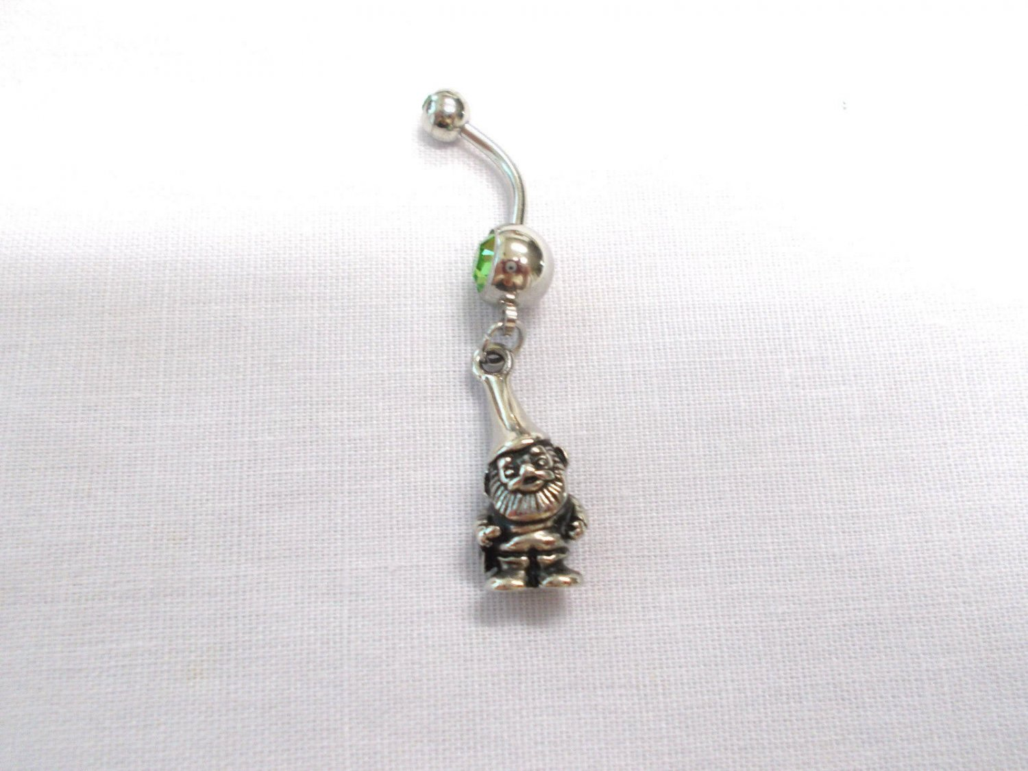 NEW 3D KNOME DUDE - HAT - BEARD -  GARDEN - WOODS CHARM 14g GREEN CZ BELLY RING