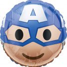 Capitan America Marvel Superhero Emoji Style Foil Party Balloon, 17""