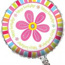 "Pink Flower Cheer Metallic Balloon, 18"""