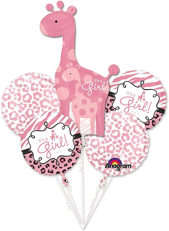 Girl Baby Shower Balloon Bouquet - Sweet Safari Girl Balloons