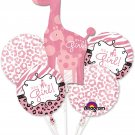 Girl Baby Shower Balloon Bouquet - Sweet Safari Girl Balloons