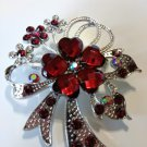 Flower Brooch Pin Red