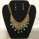 Gold-tone Natural Beads Necklace - Blue