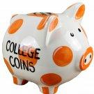 Ceramic Money Piggy Bank, Orange/Gold - Collage Coins