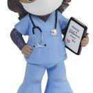 Precious Moments Hero Mask Figurine, Girl Healthcare Worker, Brunette/Medium Ski