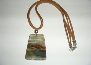 Jade and SS Necklace on Leather 30-0010