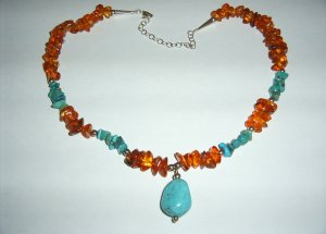 Turquoise Pendant with Amber, Turq., SS Necklace 30-0028